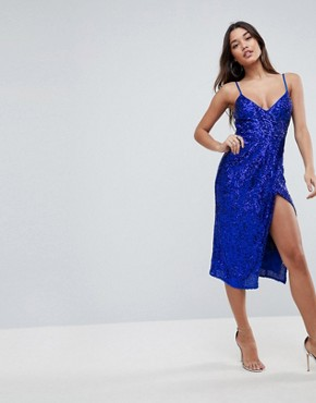 photo All Over Sequin Cami Midi Pencil Dress by ASOS, color Cobalt - Image 1