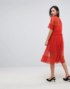 photo Tulle Midi Dress with Ruching by ASOS, color Orange - Image 2