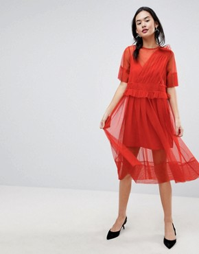 photo Tulle Midi Dress with Ruching by ASOS, color Orange - Image 1