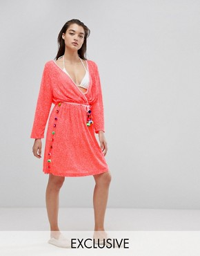 photo Santorini Beach Dress by Pitusa, color Watermelon - Image 1