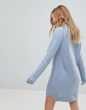 photo Cable Knit Jumper Dress by b.Young, color Sky Blue - Image 2