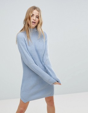 photo Cable Knit Jumper Dress by b.Young, color Sky Blue - Image 1