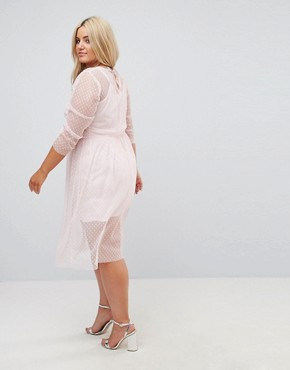 photo Ruched Midi Dress in Spot Mesh by ASOS CURVE, color Nude - Image 2