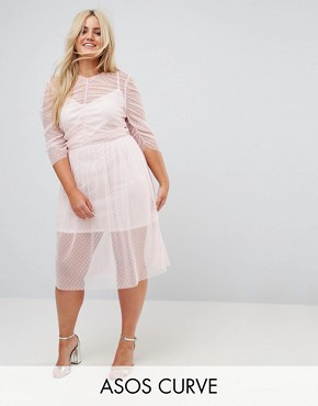 photo Ruched Midi Dress in Spot Mesh by ASOS CURVE, color Nude - Image 1