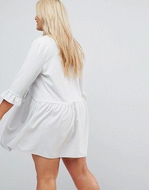 photo V-Neck Smock Dress with Frill Cuff by ASOS CURVE, color Grey - Image 2