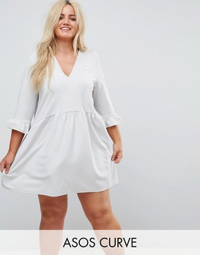 photo V-Neck Smock Dress with Frill Cuff by ASOS CURVE, color Grey - Image 1