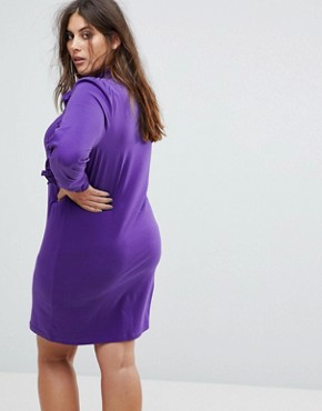 photo Casual Dress with Ruffle & Zip Detail by ASOS CURVE, color Purple - Image 2