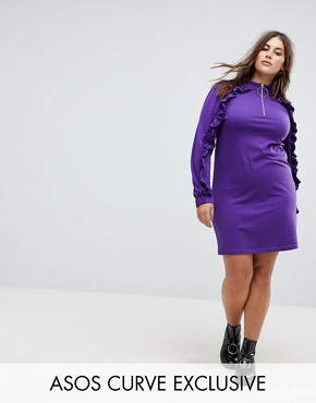 photo Casual Dress with Ruffle & Zip Detail by ASOS CURVE, color Purple - Image 1