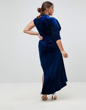 photo Deconstructed Velvet Midi Dress with Cut Out Neck by ASOS CURVE RED CARPET, color Cobalt - Image 2