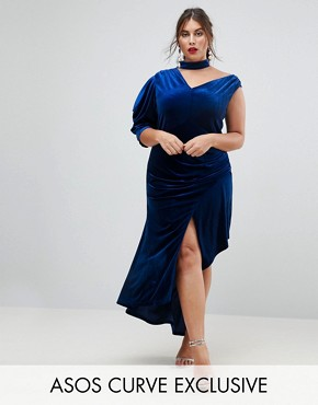 photo Deconstructed Velvet Midi Dress with Cut Out Neck by ASOS CURVE RED CARPET, color Cobalt - Image 1