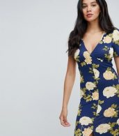 photo City Maxi Tea Dress with V-Neck and Button Detail in Blue Floral Print by ASOS TALL, color Navy Floral - Image 3
