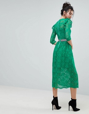 photo Midi Lace Tea Dress with Sports Tipping by ASOS TALL, color Green - Image 2