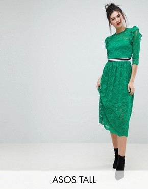 photo Midi Lace Tea Dress with Sports Tipping by ASOS TALL, color Green - Image 1