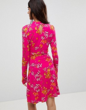 photo Mini Tea Dress with High Neck in Pink Bamboo Print by ASOS TALL, color Pink Print - Image 2