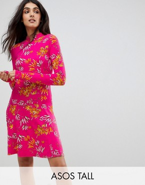 photo Mini Tea Dress with High Neck in Pink Bamboo Print by ASOS TALL, color Pink Print - Image 1