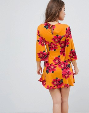 photo Mini Tea Dress with Fluted Sleeves in Orchid Print by ASOS PETITE, color Orange - Image 2