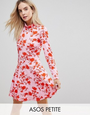 photo Polo Neck Mini Dress with Godets in Floral Print by ASOS PETITE, color Pink - Image 1