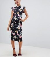 photo High Neck Pencil Dress with Cut Out Back and Shoulder Detail in Dark Based Floral Print by ASOS PETITE, color Multi - Image 4