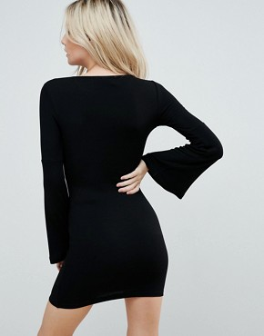 photo Mini Bodycon Dress with Fluted Sleeves by ASOS PETITE, color Black - Image 2