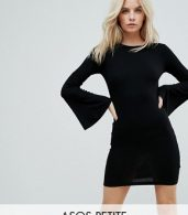 photo Mini Bodycon Dress with Fluted Sleeves by ASOS PETITE, color Black - Image 1