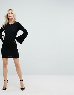 photo Mini Bodycon Dress with Fluted Sleeves by ASOS PETITE, color Black - Image 4