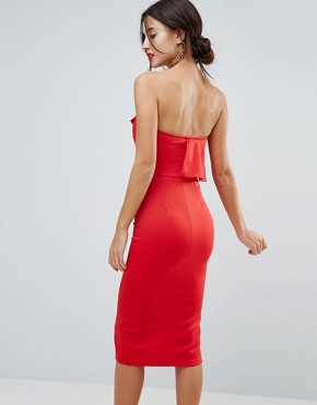 photo Structured Bandeau Dress with Frill Detail and Side Split by True Violet, color Red - Image 2