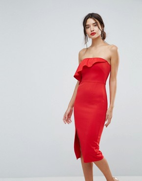 photo Structured Bandeau Dress with Frill Detail and Side Split by True Violet, color Red - Image 1