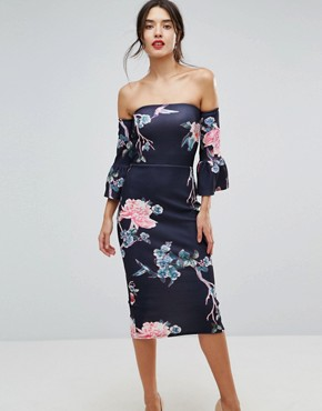 photo Flare Sleeve Bodycon Dress in Floral Print by True Violet, color Floral - Image 1