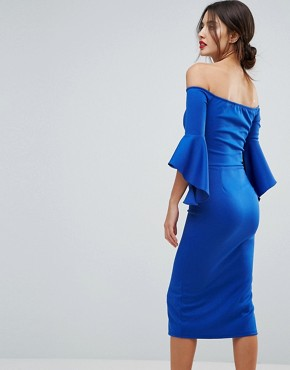 photo Bardot Pencil Dress with Extreme Sleeve Detail by True Violet, color Electric Blue - Image 2