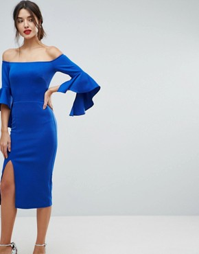 photo Bardot Pencil Dress with Extreme Sleeve Detail by True Violet, color Electric Blue - Image 1