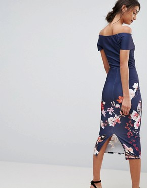 photo Cross Over Bodycon Dress in Floral Border Print by True Violet Tall, color Navy Floral - Image 2