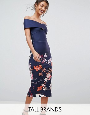 photo Cross Over Bodycon Dress in Floral Border Print by True Violet Tall, color Navy Floral - Image 1
