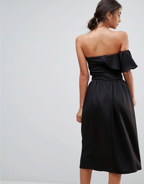 photo Structured Bandeau Skater Dress with Frill Detail by True Violet Tall, color Black - Image 2