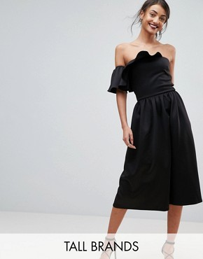 photo Structured Bandeau Skater Dress with Frill Detail by True Violet Tall, color Black - Image 1