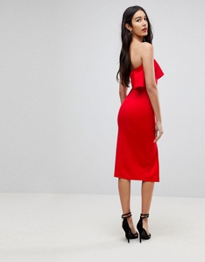 Sale Top Quality Low Price Sale Structured Bandeau Dress With Frill Detail And Side Split - Red True Violet Tall zmiOd