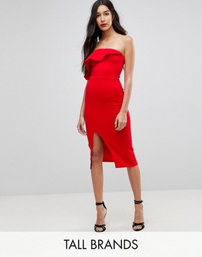 photo Structured Bandeau Dress with Frill Detail and Side Split by True Violet Tall, color Red - Image 1
