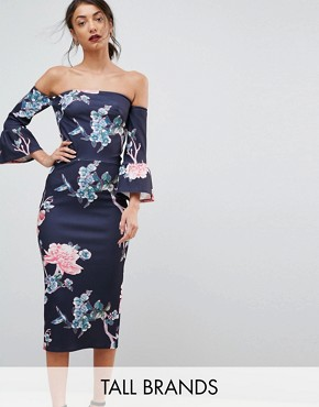 photo Flare Sleeve Bodycon Dress in Floral Print by True Violet Tall, color Floral - Image 1