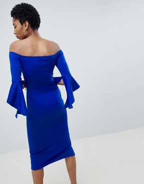 photo Bardot Pencil Dress with Extreme Sleeve Detail by True Violet Tall, color Electric Blue - Image 2