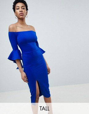 photo Bardot Pencil Dress with Extreme Sleeve Detail by True Violet Tall, color Electric Blue - Image 1