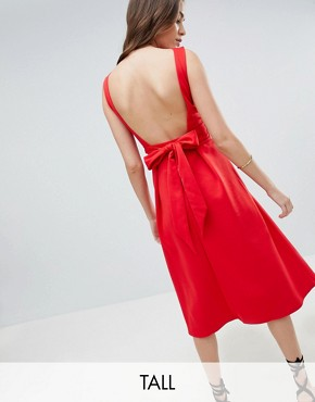 photo Bow Back Skater Midi Dress by True Violet Tall, color Red - Image 1