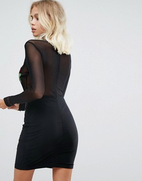 photo Mesh Bodycon Mini Dress with Floral Applique by NaaNaa, color Black - Image 2
