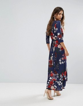 photo Wrap Floral Maxi Dress with Ruffle by QED London, color Navy Floral Print - Image 2
