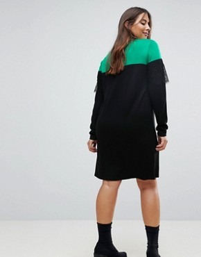 photo Knitted Mini Dress in Colourblock with Lace by ASOS CURVE, color Multi - Image 2
