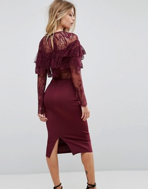 photo Long Sleeve Overlay Midi Dress with Lace Detail by AX Paris, color Plum - Image 2