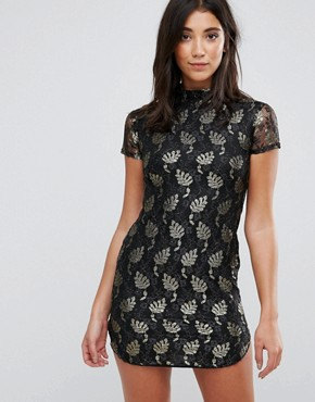 photo Lace Metallic Leaf Shift Dress by AX Paris, color Black/Gold - Image 1