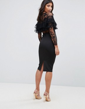 photo Long Sleeve Overlay Midi Dress with Lace Detail by AX Paris, color Black - Image 2