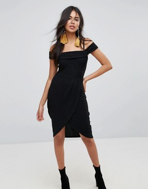 photo Bardot Wrap Front Midi Dress by AX Paris, color Black - Image 1