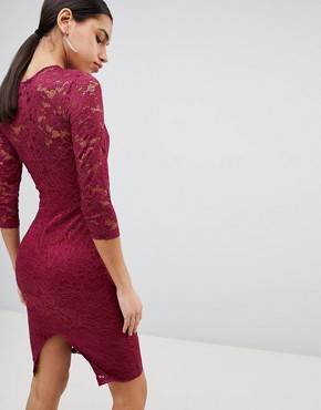 photo 3/4 Sleeve Lace Midi Dress by AX Paris, color Plum - Image 2
