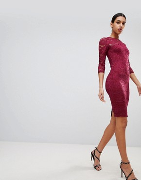 photo 3/4 Sleeve Lace Midi Dress by AX Paris, color Plum - Image 1