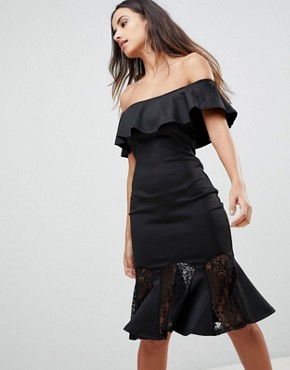 photo Bardot Dress with Lace Pephem by AX Paris, color Black - Image 1